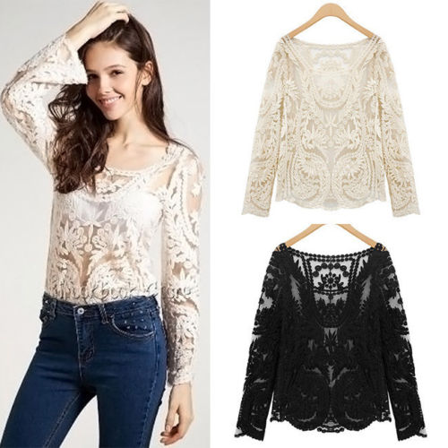 8b8f336865 Sexy Sheer Embroidery Floral Lace Crochet Blouse on Luulla