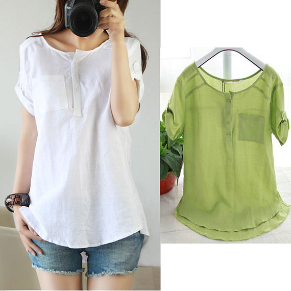2015 New Style Cotton Linen Fashion Summer Blouse T Shirt On Luulla